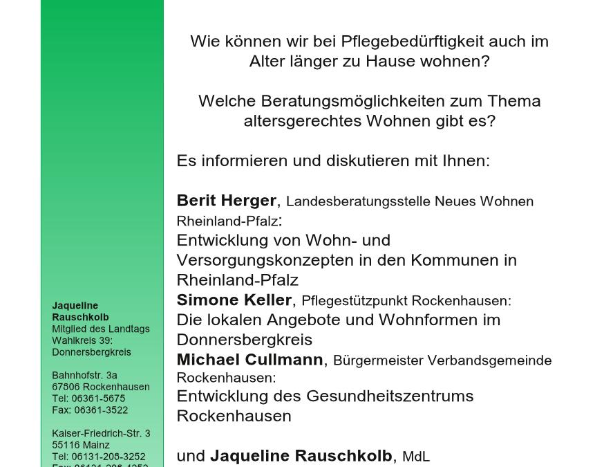 """Drittes Donnersberger Gesundheitsforum: """"Wohnen und Leben im Alter"""" am 29.3. in Einselthum"""